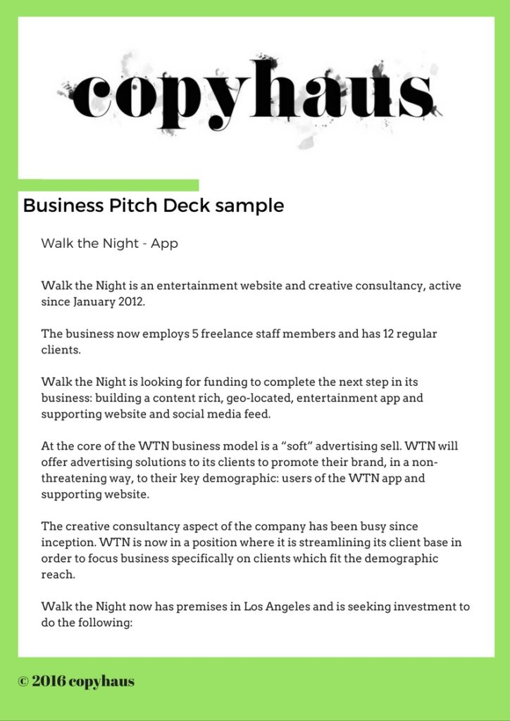Business Pitch Deck Sample