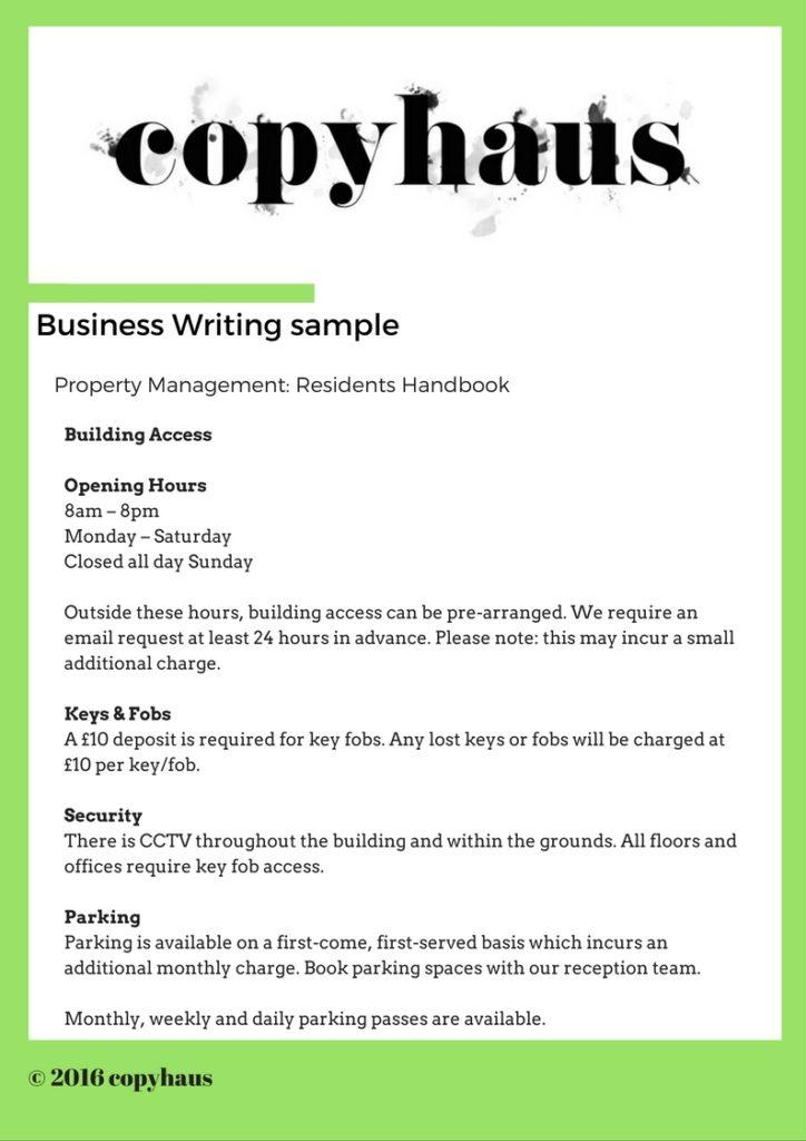 Business Writing Sample