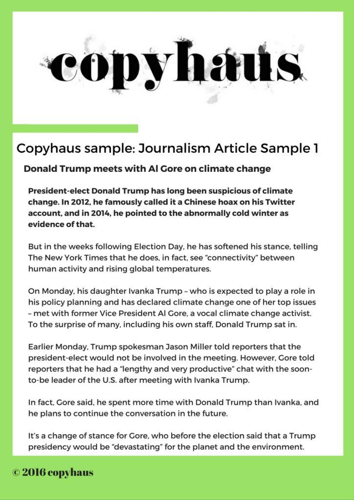 Journalism Article Sample 1