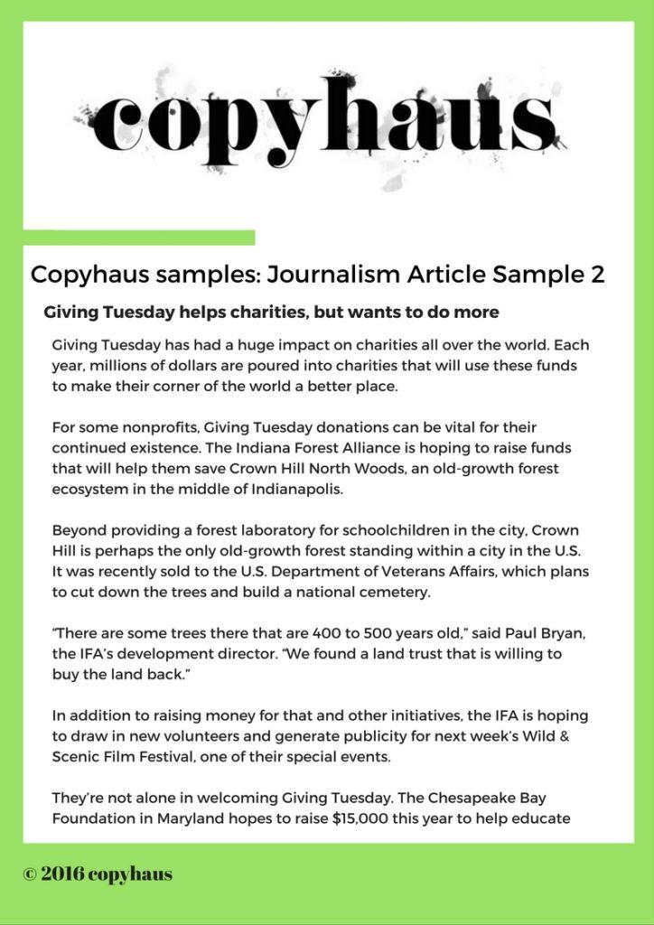 Journalism Article Sample 2