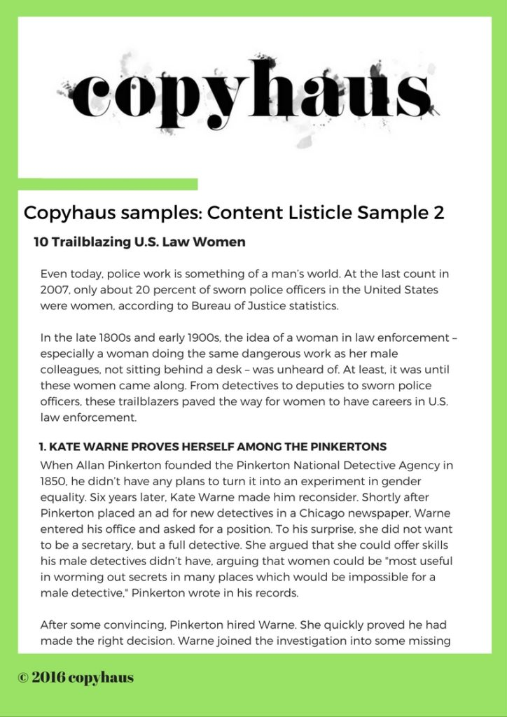 Content Listicle Sample 2