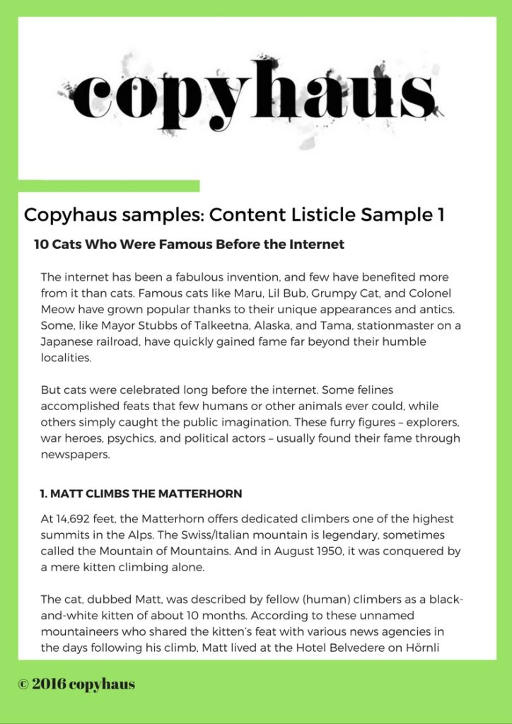 Content Listicle Sample 1