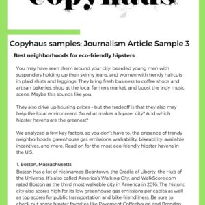 Journalism Article Sample 3