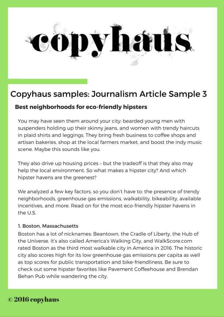 Journalism Article Sample 3